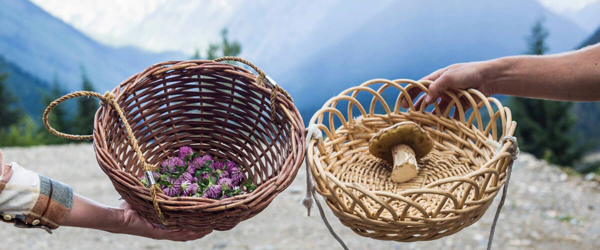 edible forage in baskets